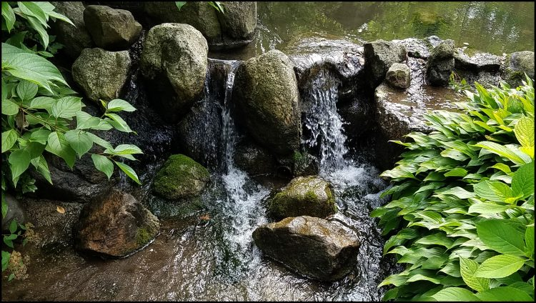 Stone and waterfall in Japanese Gardens Rockford